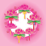 Lotus lantern around circle effect Royalty Free Stock Photography