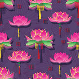 Lotus lantern effect seamless pattern Royalty Free Stock Photo