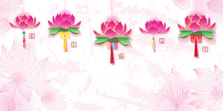 Lotus lantern hanging banner effect Stock Photos