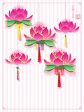 Lotus lantern hanging effect Royalty Free Stock Images