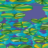 Lotus leaves water seamless pattern Royalty Free Stock Photo