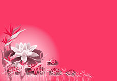 Lotus and lilly. Lotus and colourful Lilly, water grass in pink background illustration Stock Photos