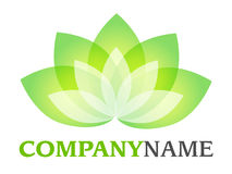 Lotus logo. Isolated vector company logo with green white  blossom leaves lotus icon on white background Stock Photography
