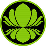 Lotus logo. Illustration art of a green lotus logo with isolated background Royalty Free Stock Image