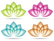 Lotus Logo. Various coloured lotus logos logo icon with leaves royalty free illustration