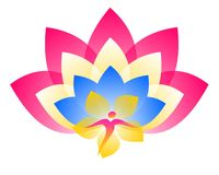 Lotus Logo Alma e flor ilustração do vetor