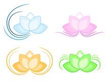 Lotus logo set. Illustration of a various lotus flowers. Company logo icons Stock Photography