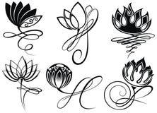 Lotus logo vector art set design in tattoo style. Decorative Lotus logo design in tattoo style Stock Photography