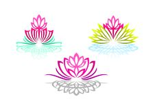 Lotus Logo, Woman Yoga, Beauty Flower Massage, Pretty Spa Sense, Reflection Wellness, And Natural Relax Concept Design. Stock Photo