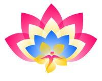Lotus Logo Ziel en bloem vector illustratie