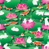 Lotus lotus lantern rabbit koi seamless pattern Royalty Free Stock Photo