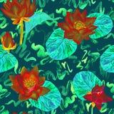 Lotus målade röda blommor och sidor och lockiga vattenvågor, den sömlösa modelldesignen, hand vattenfärgen på mörk turkos Arkivfoto