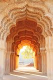 Lotus Mahal Temple in Hampi, Karnataka, India. Beautiful carved. Stone arch and sunset. A popular tourist route from the GOA state. Beautiful hindu temple stock photos