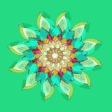 LOTUS MANDALA FLOWER. PLAIN LIGHT GREEN BACKGROUND. CENTRAL FLOWER IN GREEN, BURGUNDY, YELLOW, ORANGE AND WHITE. royalty free illustration
