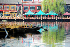 Lotus market in Houhai, Beijing. Houhai is a lake and its surrounding district in central Beijing, one of the three bodies of water composing the Shichahai. In Royalty Free Stock Photos