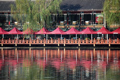 Lotus marknad i Houhai, Peking Arkivbild