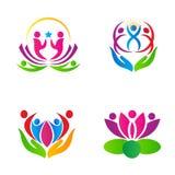 Lotus-mensenemblemen vector illustratie