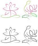 Lotus met bladeren royalty-vrije illustratie