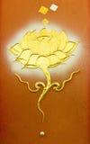 Lotus mural Buddhist art in Thai temple Royalty Free Stock Photo