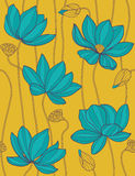 Lotus - naadloos vectorpatroon Stock Afbeelding