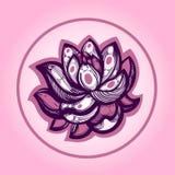 Lotus Nelumbo Flor en un fondo ligero LOGOTIPO label libre illustration