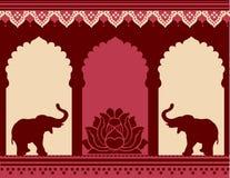 Lotus och elefanttempelbakgrund stock illustrationer