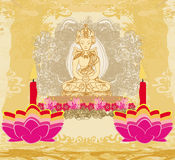 Lotus Oil Lamp avec la carte de Bouddha illustration stock