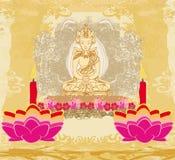 Lotus Oil Lamp with Buddha card Stock Photos