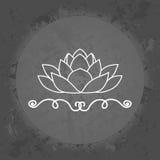 Lotus op grijze uitstekende achtergrond minimalism Pictogram, embleem Royalty-vrije Stock Foto