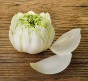 Lotus op hout Godsdienst royalty-vrije stock foto