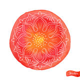 Lotus Outlines On Red Stock Photos