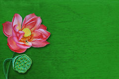 Lotus painting. On a wooden green Royalty Free Stock Photo