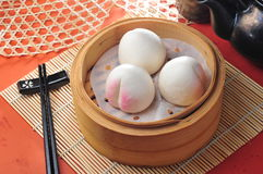 Lotus paste bun. Dim sum stock photo
