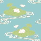 Lotus pattern. Seamless pattern. Lotus on the water Stock Image