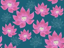 Lotus pattern1. Beautiful seamless pattern with flower lotus. Japanese ? indian pattern. Perfect for site backgrounds, wrapping paper and fabric design. Vector royalty free illustration