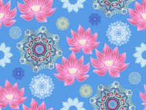 Lotus pattern6. Beautiful seamless pattern with flower lotus. Japanese ? indian pattern. Perfect for site backgrounds, wrapping paper and fabric design. Vector royalty free illustration