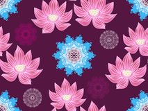 Lotus pattern5. Beautiful seamless pattern with flower lotus. Japanese ? indian pattern. Perfect for site backgrounds, wrapping paper and fabric design. Vector stock illustration