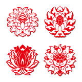The lotus patterns. In the classical written and oral literature of many Asian cultures the lotus is present in figurative form, representing elegance, beauty Stock Photos