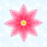 Lotus pink flower. Top view illustration on light blue background. Stock Photos