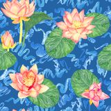 Lotus pink flowers and leaves and curly water waves, seamless pattern design, hand painted watercolor on blue. Background, top view vector illustration