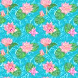 Lotus pink flowers and leaves and curly water waves, seamless pattern design, hand painted watercolor on bright blue. Background, top view stock illustration