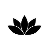Lotus plant symbol. Spa and wellness theme design element. Flat black vector illustration Royalty Free Stock Images