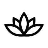 Lotus plant symbol. Spa and wellness theme design element. Flat black vector illustration Royalty Free Stock Image