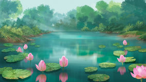 Lotus Pond vektor illustrationer