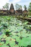 Lotus pond and Pura Saraswati temple in Ubud, Bali Stock Photo