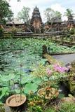 Lotus pond and Pura Saraswati temple in Ubud, Bali Royalty Free Stock Image