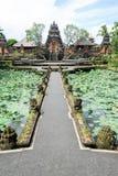 Lotus pond and Pura Saraswati temple in Ubud, Bali Stock Images