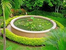 Lotus pond. A round lotus pond with various lotus species Royalty Free Stock Images