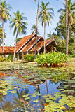 Lotus pond and Thai style building Royalty Free Stock Image