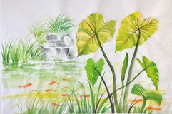 Lotus pond. Watercolor painting of green lotus leaves on a pond with red fishes. Asian style original art Stock Photography